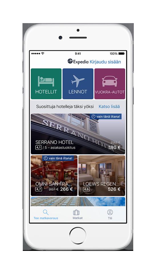 iPhone, jonka ruudulla näkyy Expedian sovellus