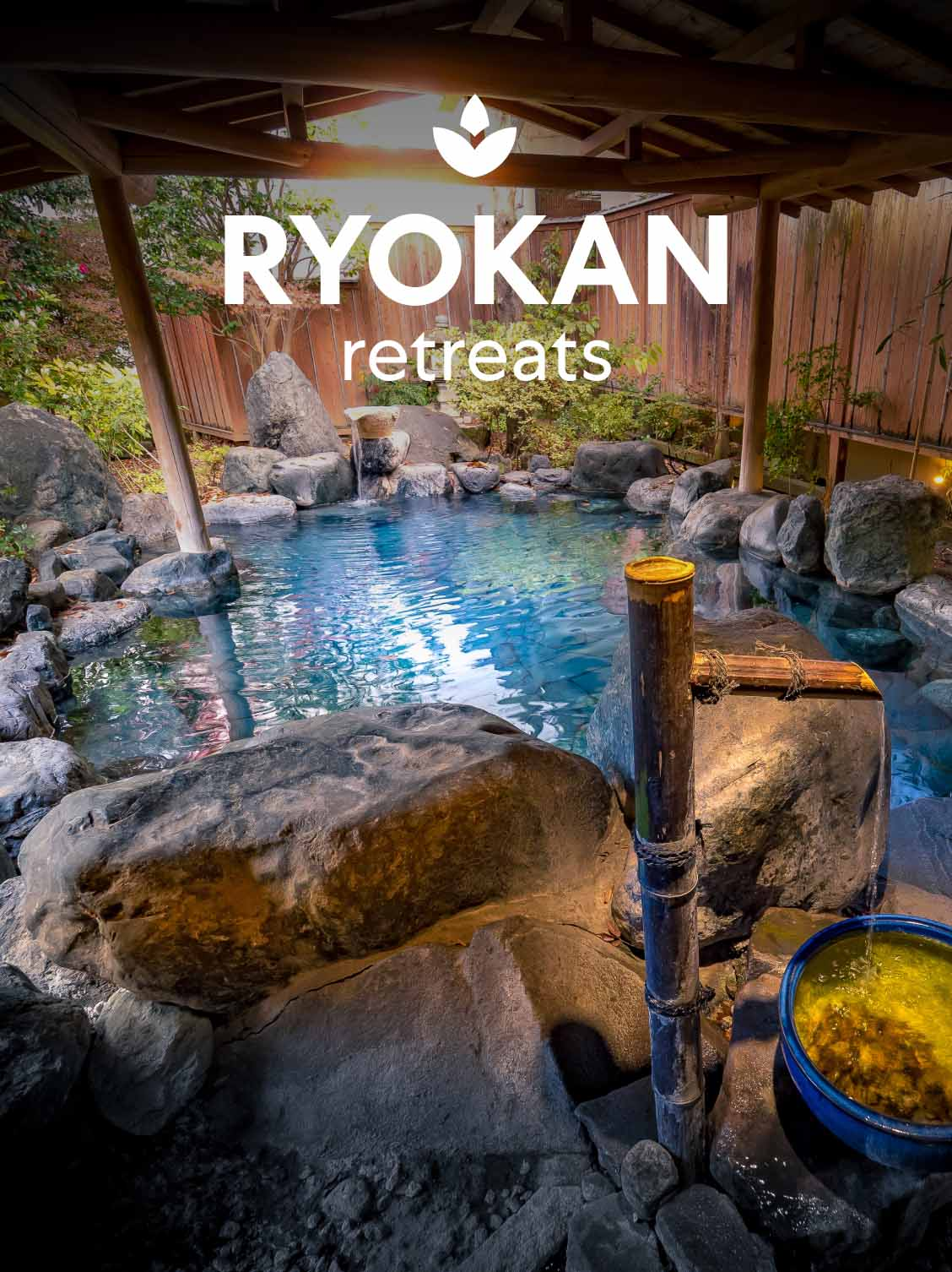 A traditonal Japanese Ryokan room with a pool with rocks. A superimposed title reads: Ryokan retreats.