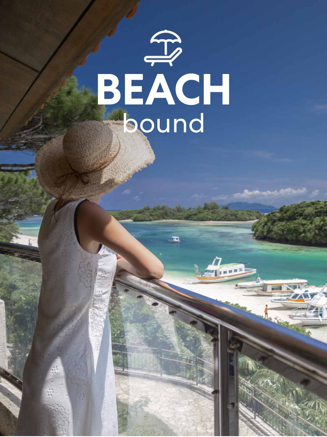 A woman leaning against her hotel patio's glass barrier. She is looking out across the water at boats and beach goers. A superimposed title reads: Beach bound.