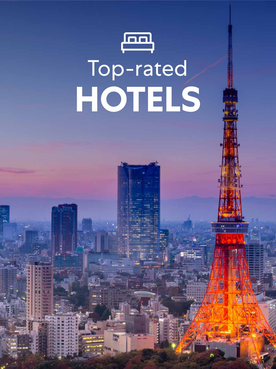 Aerial view of Tokyo, Japan at night, with the Tokyo Tower in the foreground. A superimposed title reads: Top-rated hotels.