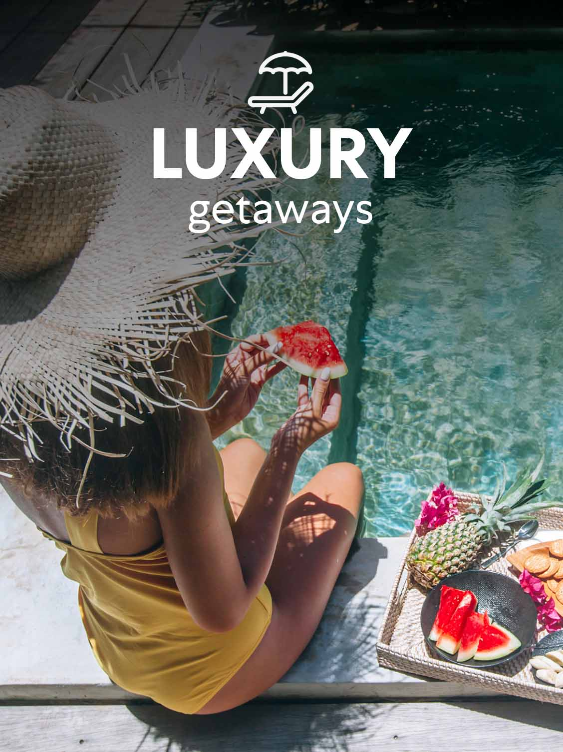 A little girl is eating fruit by the swimming pool. A superimposed title reads: Luxury getaways