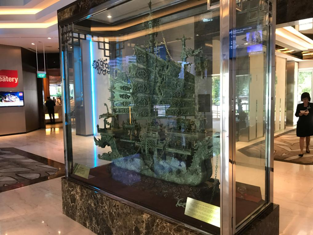 6' Hand Crafted SOLID JADE ship in hotel lobby!
