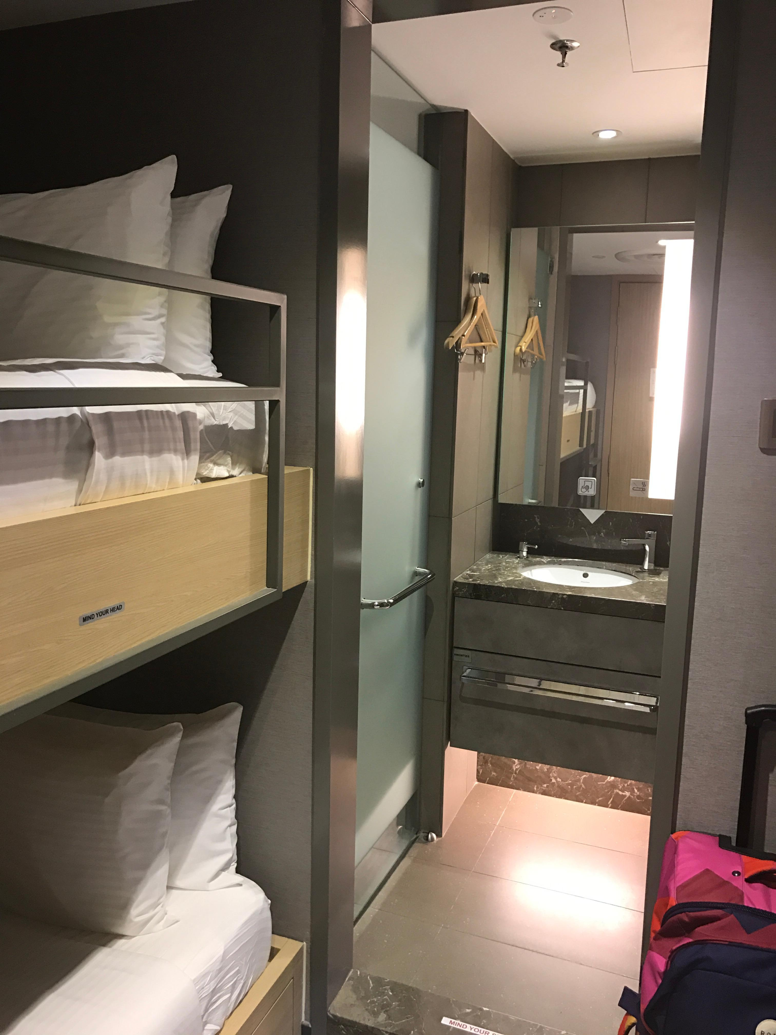 Bed, shower, toilet