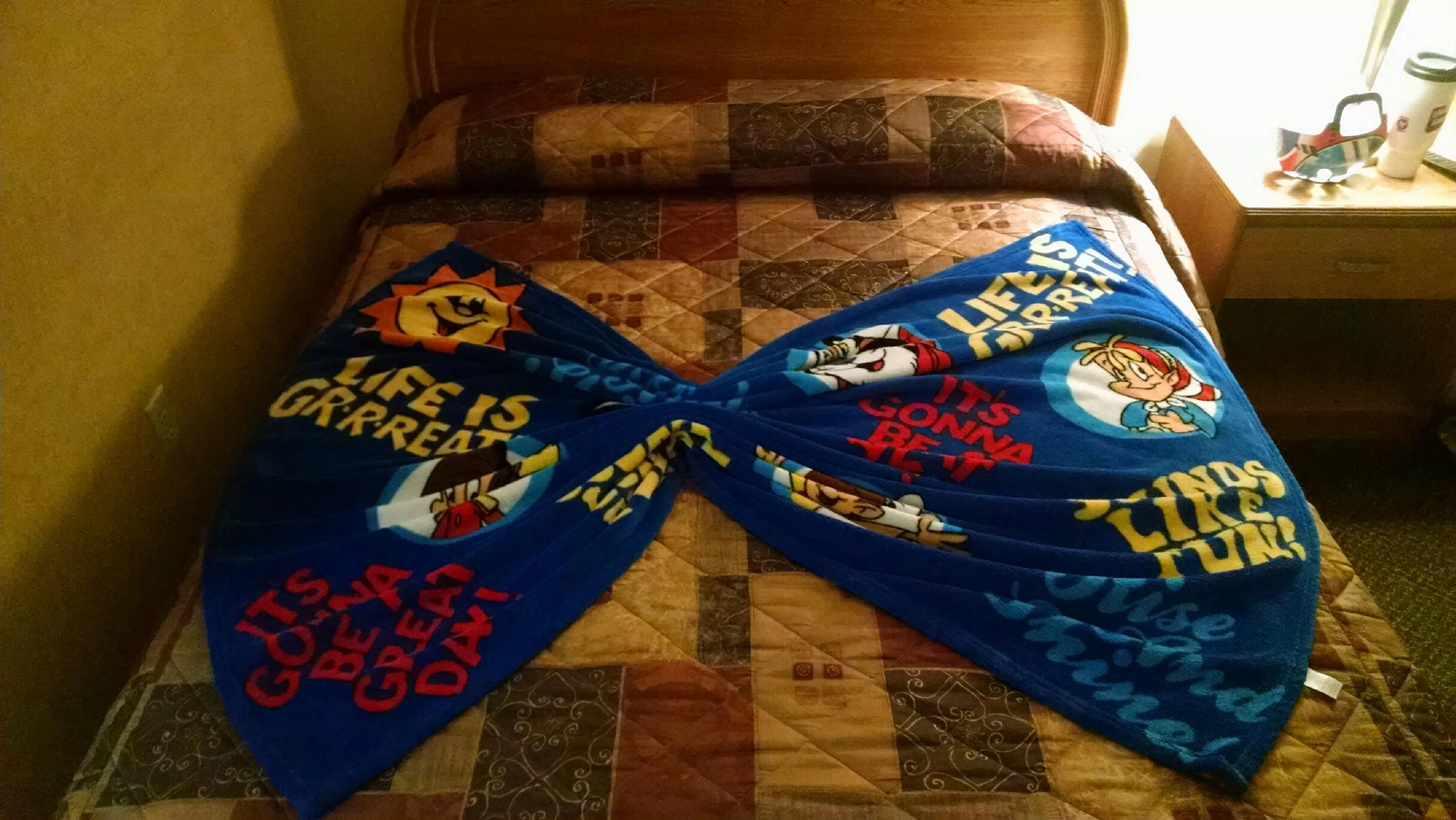 housekeeping made a butterfly on the kids bed with their blanket from home.. they thought that was cool!