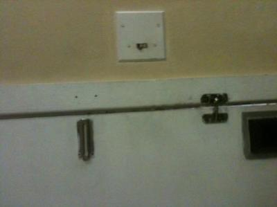 that is ur door to the room dirty and no lock and u can see out