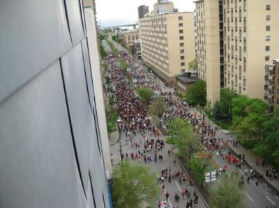 Student protesters below our window