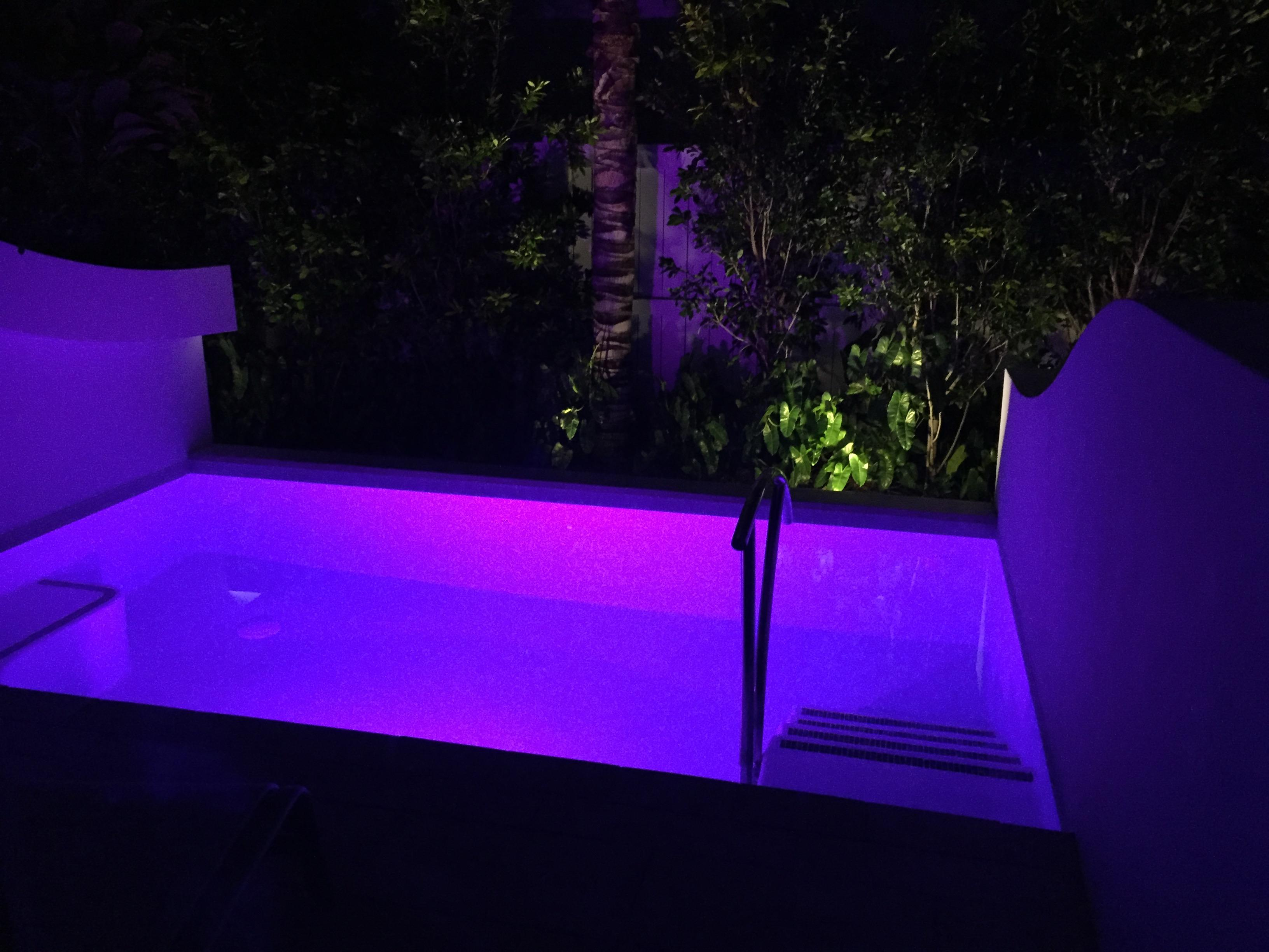 Our private plunge pool at night