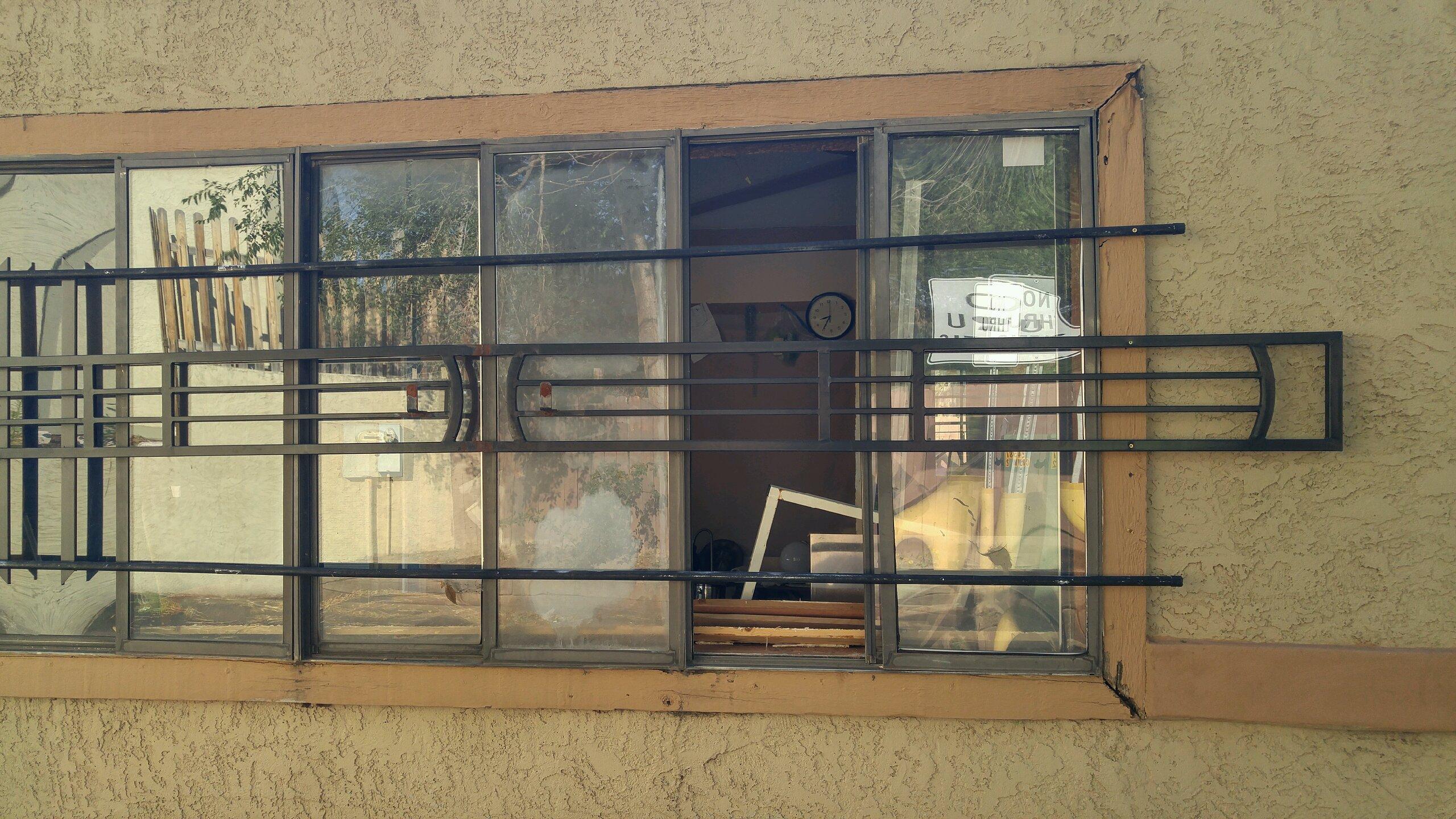 Broken window to pool