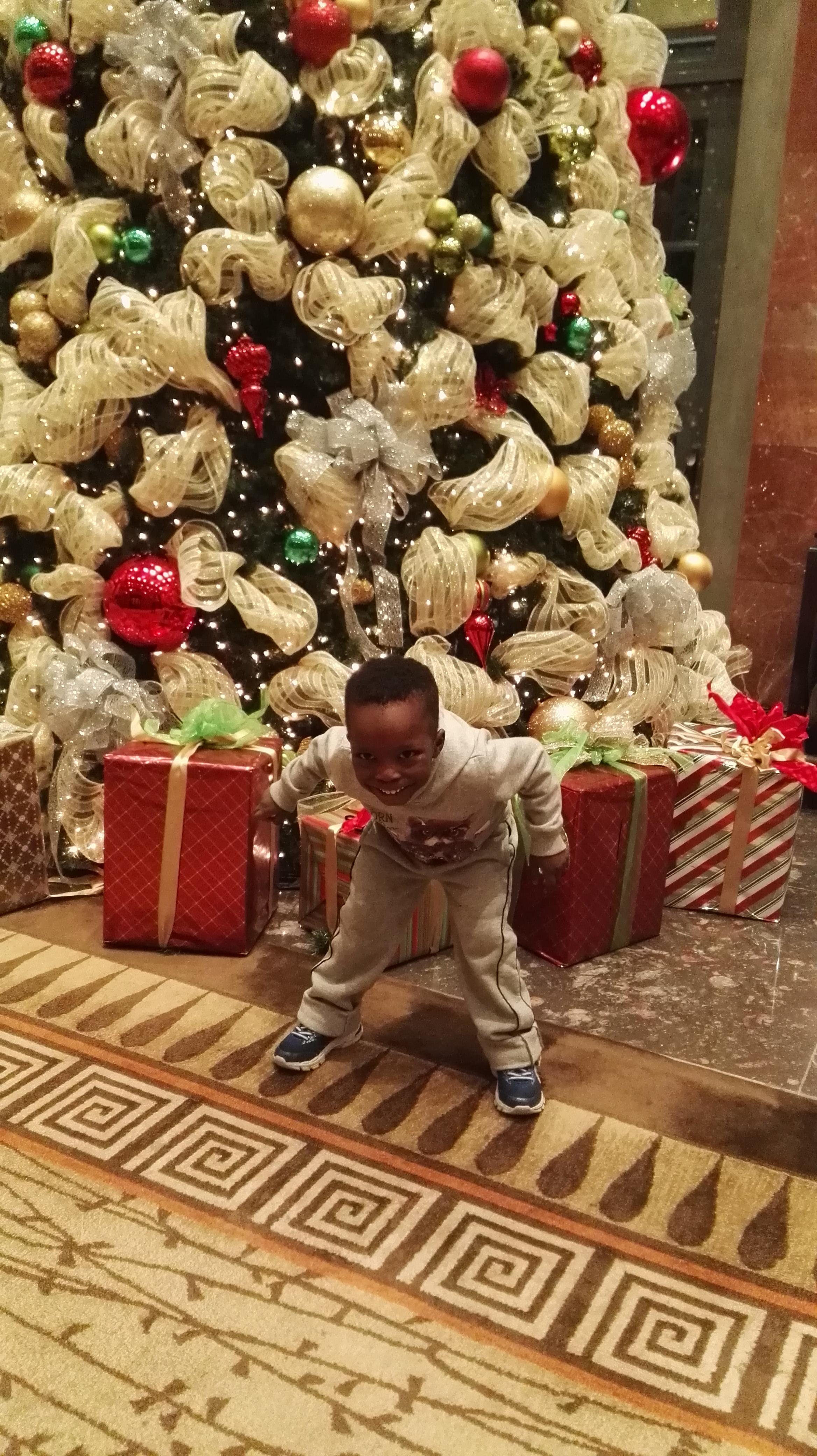 My son posing by the beautiful Christmas tree