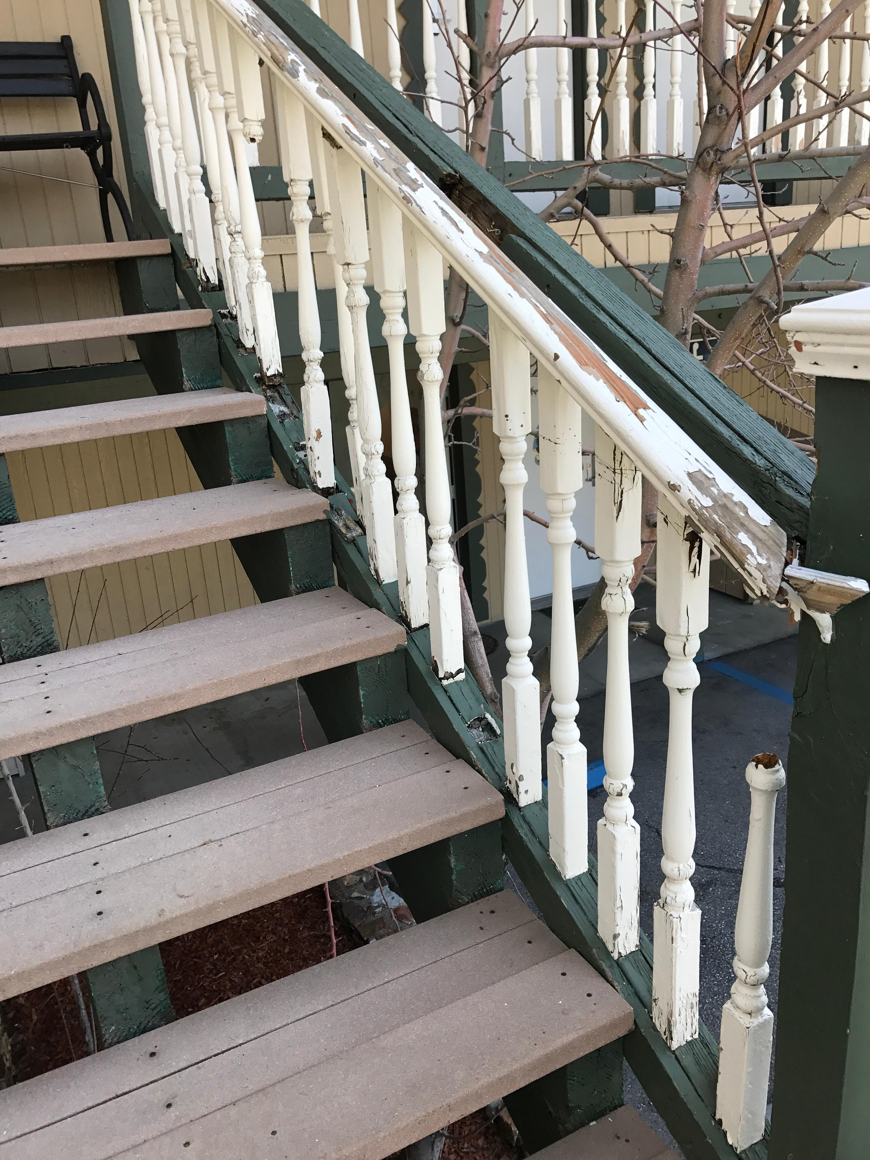 Rotting stairs rails