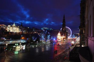 View of Edinburgh Castle from our bay window.