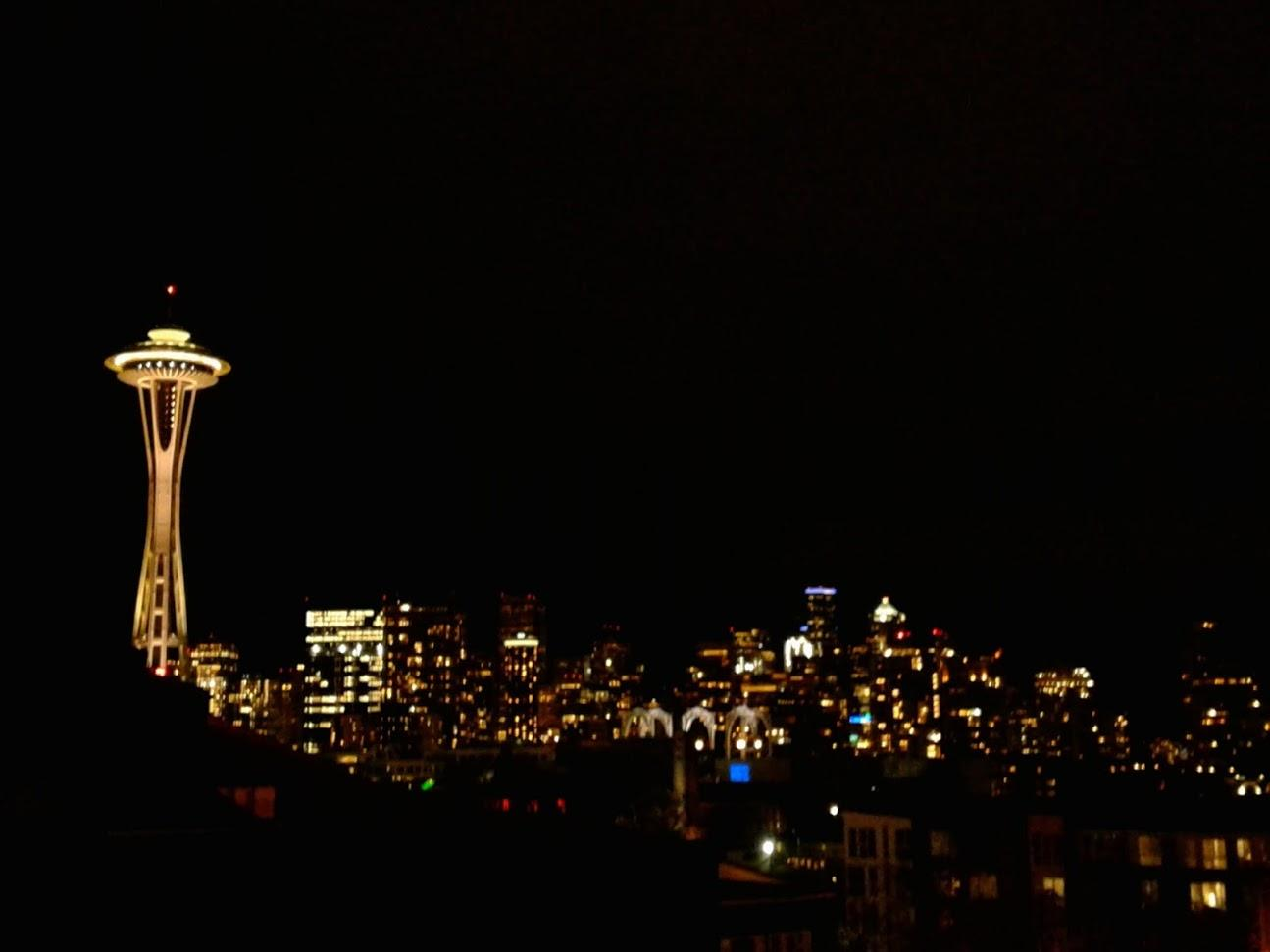 View of Space Needle from Rooftop of Hotel