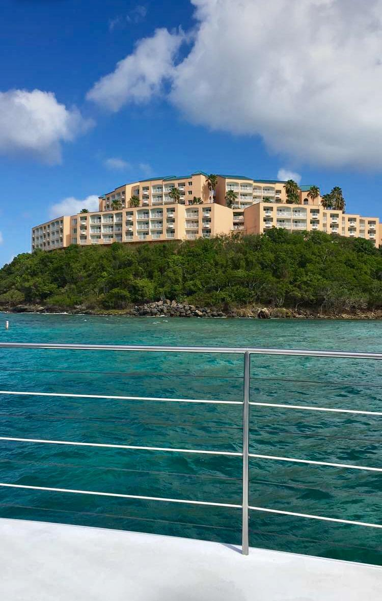 View of the resort from a catamaran