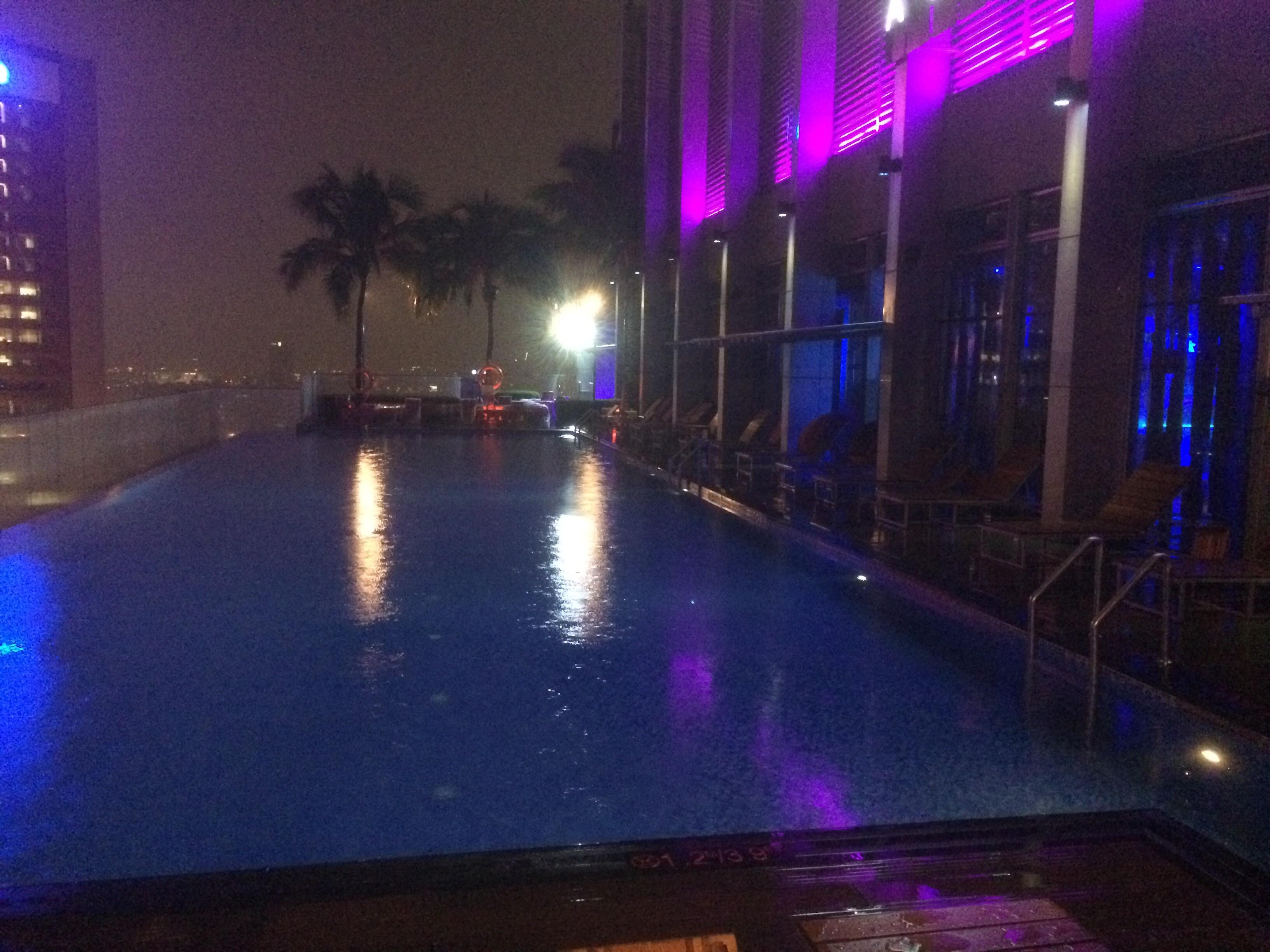 Rooftop pool at night (Mai bar to rear right)
