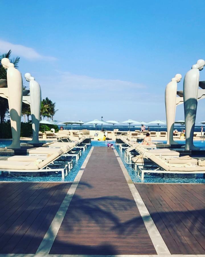 The beach pool, swim bar and beautiful white sand beach