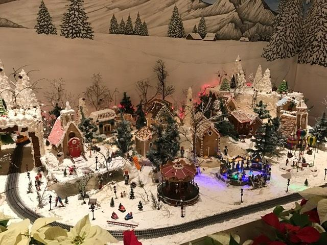X-mas Train set up in lobby.