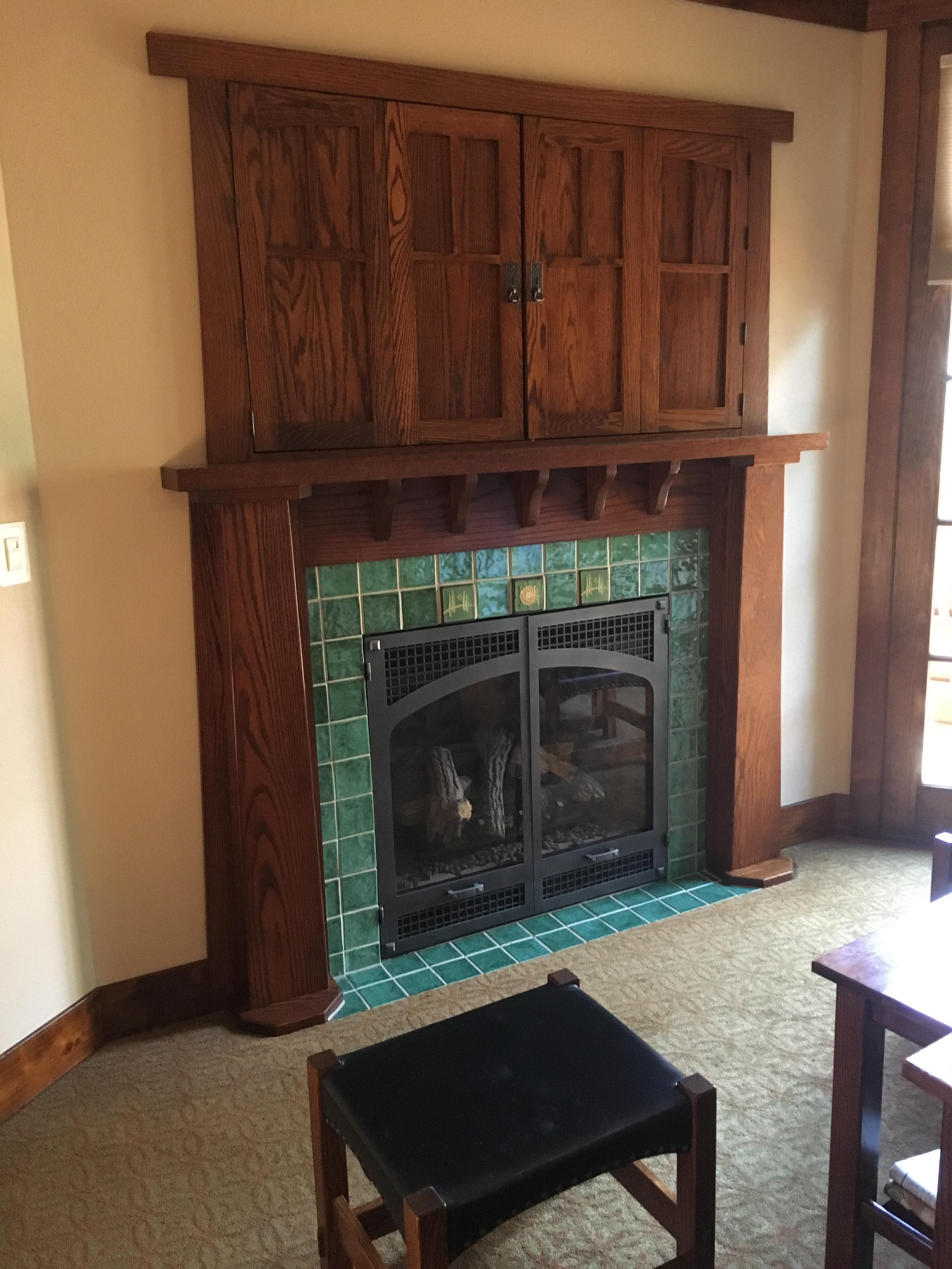 Gas fireplace in room
