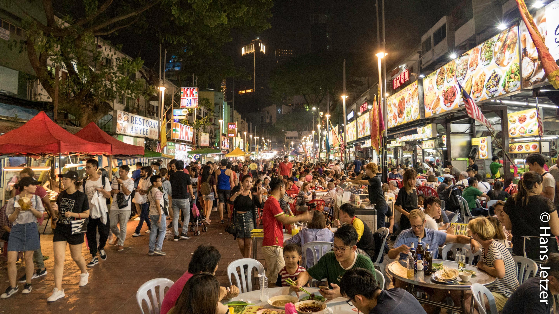 Food Street on 630 meters length, from chicken feet, frogs etc. .... Sea food to steak.