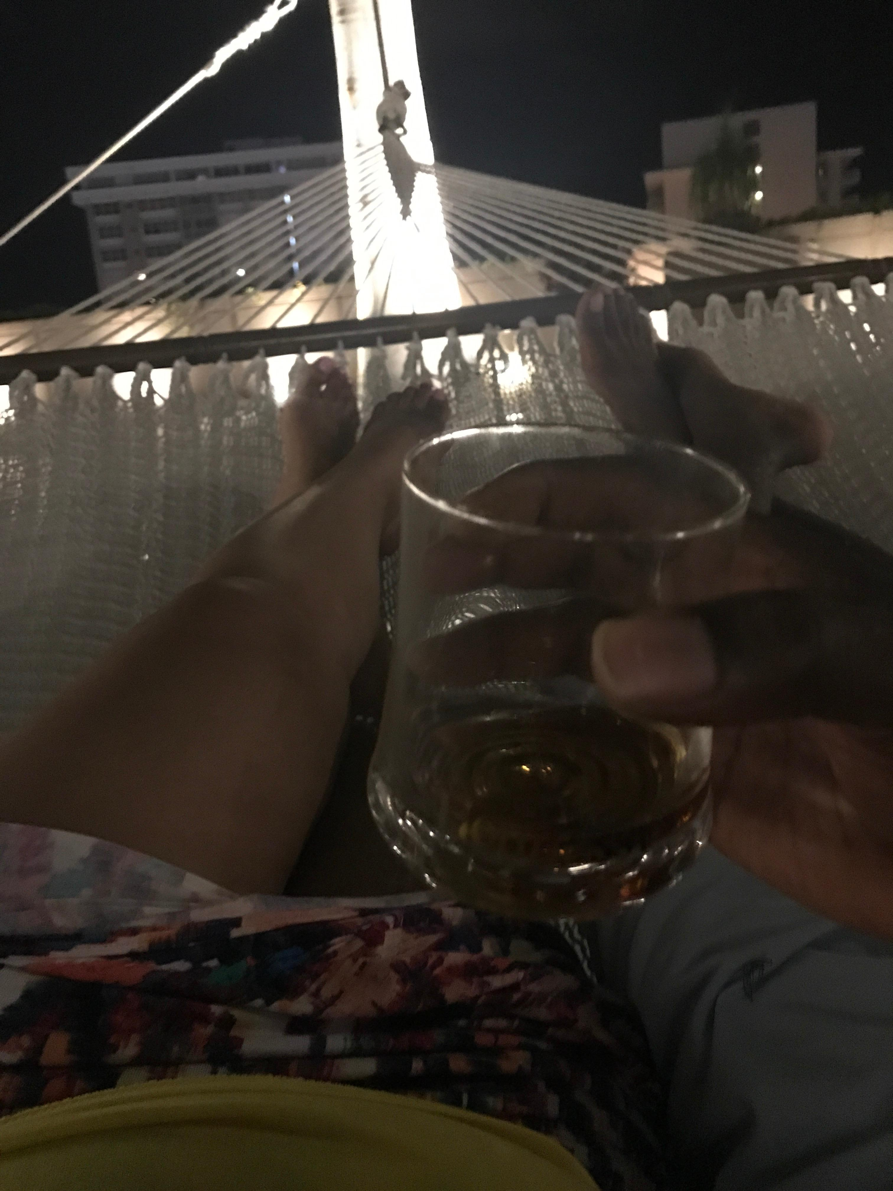 Hubby and I relaxing in a hammock by the pool