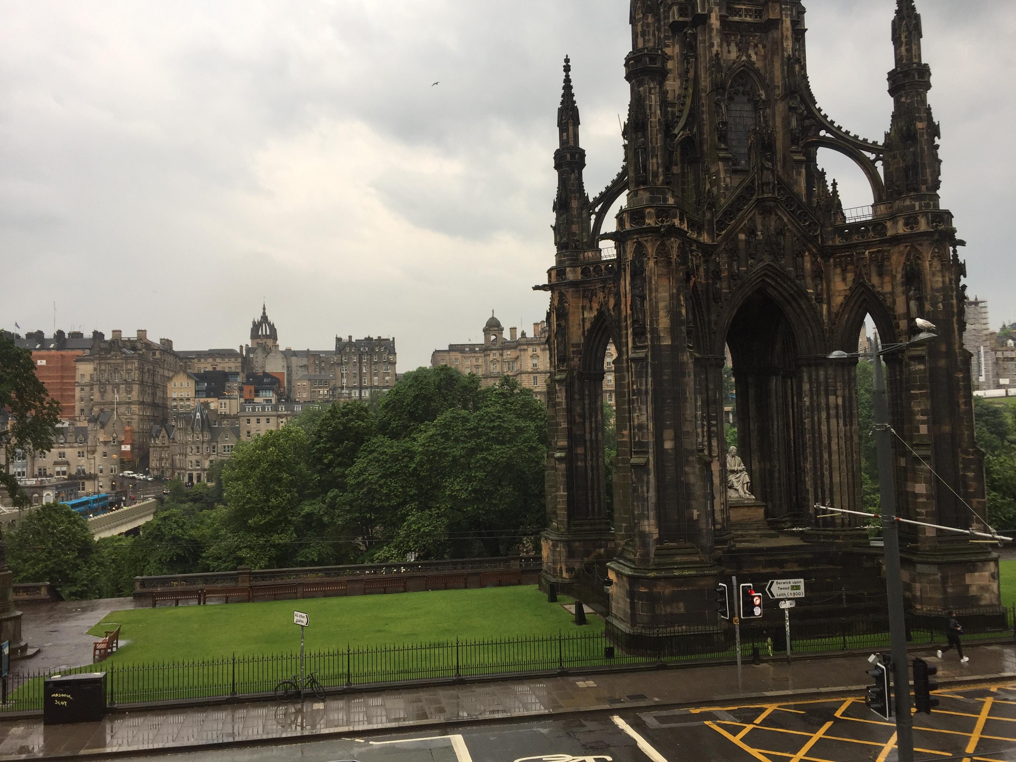 View from our window overlooking Princes Street and the Scott Monument