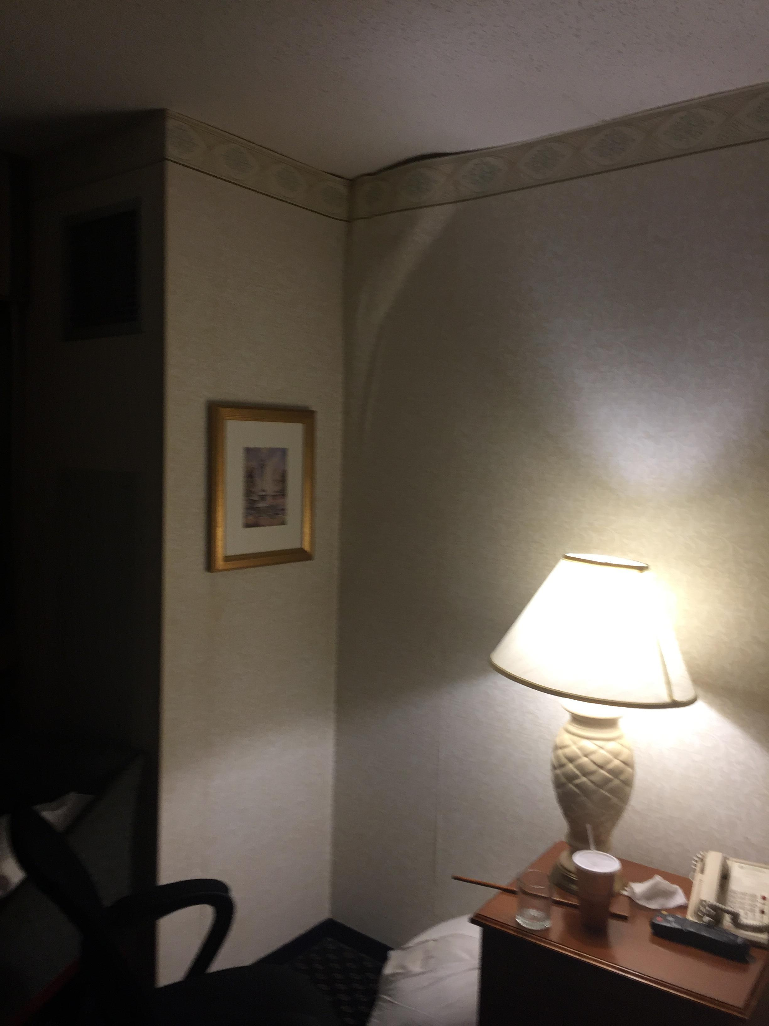 Wallpaper falling loose from wall.