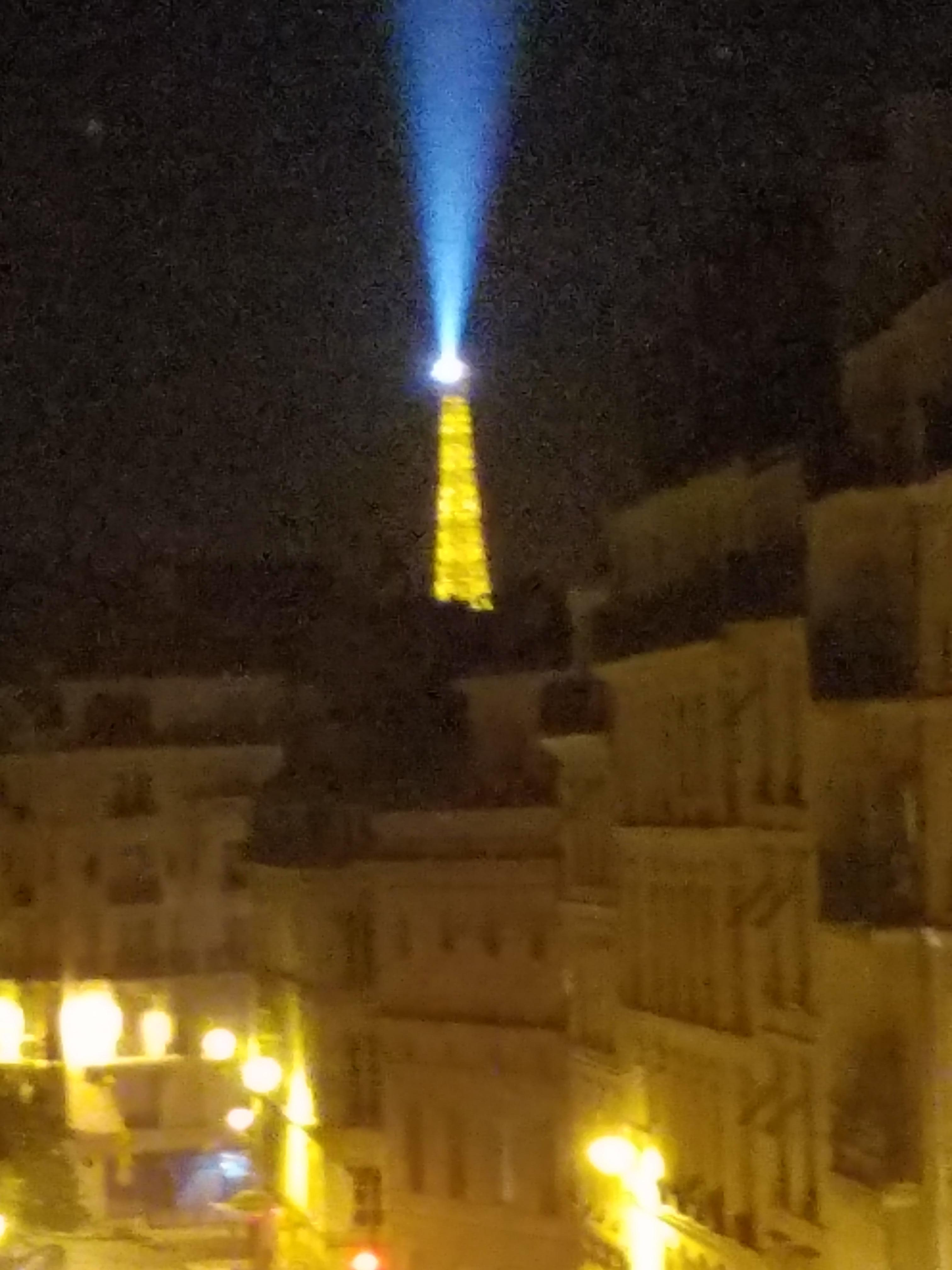 Eiffel Tower from the room at night!