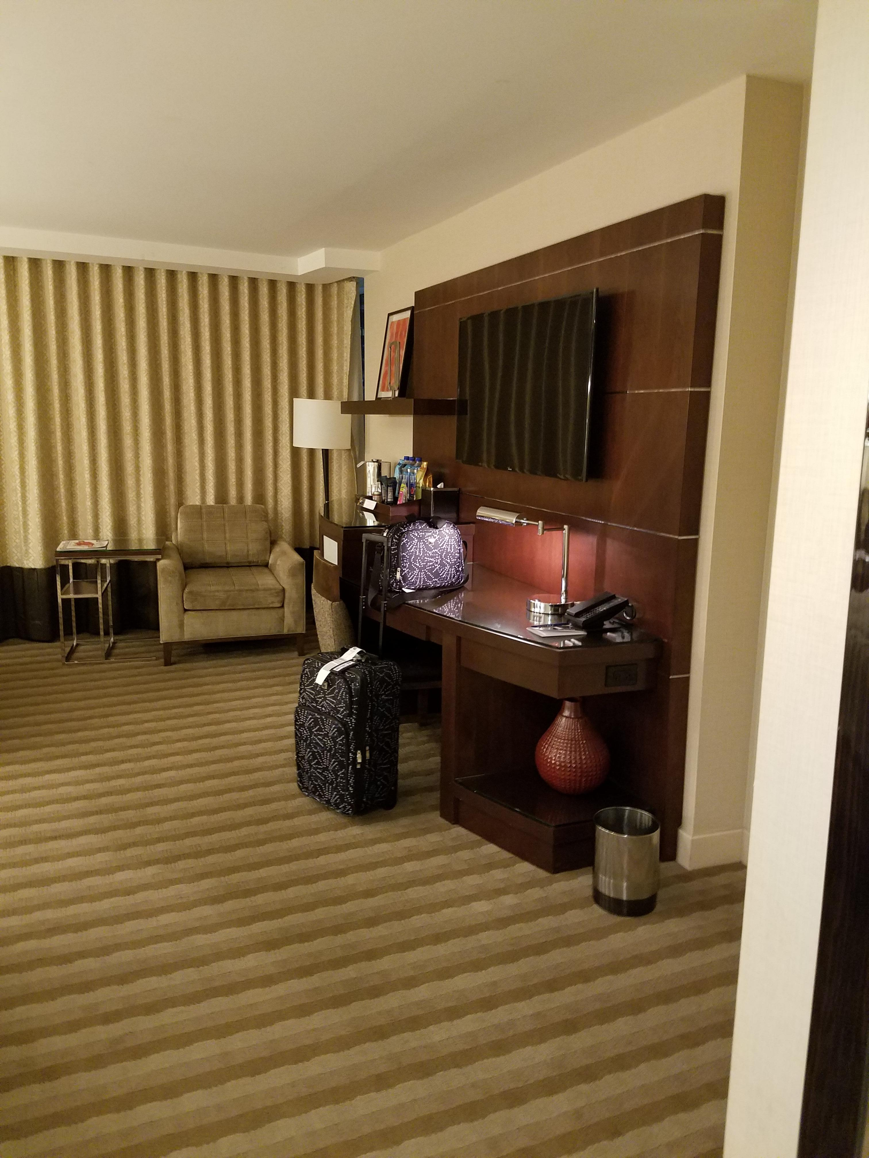 Across from bed area