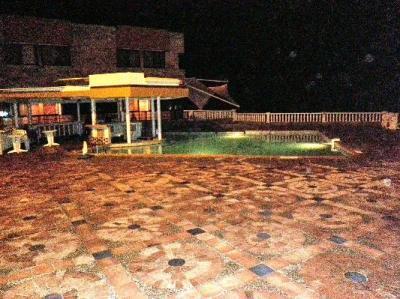 Hotel pool at night