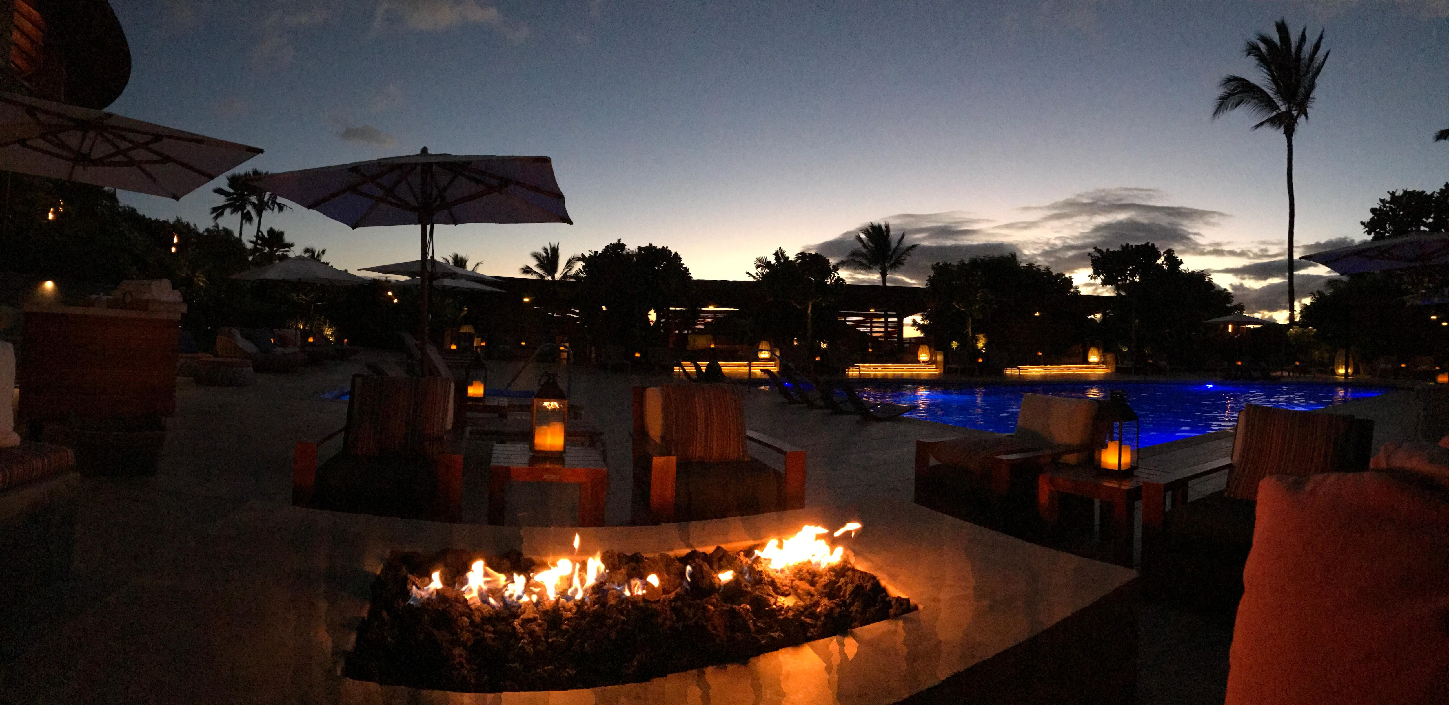 Pool at sunset.