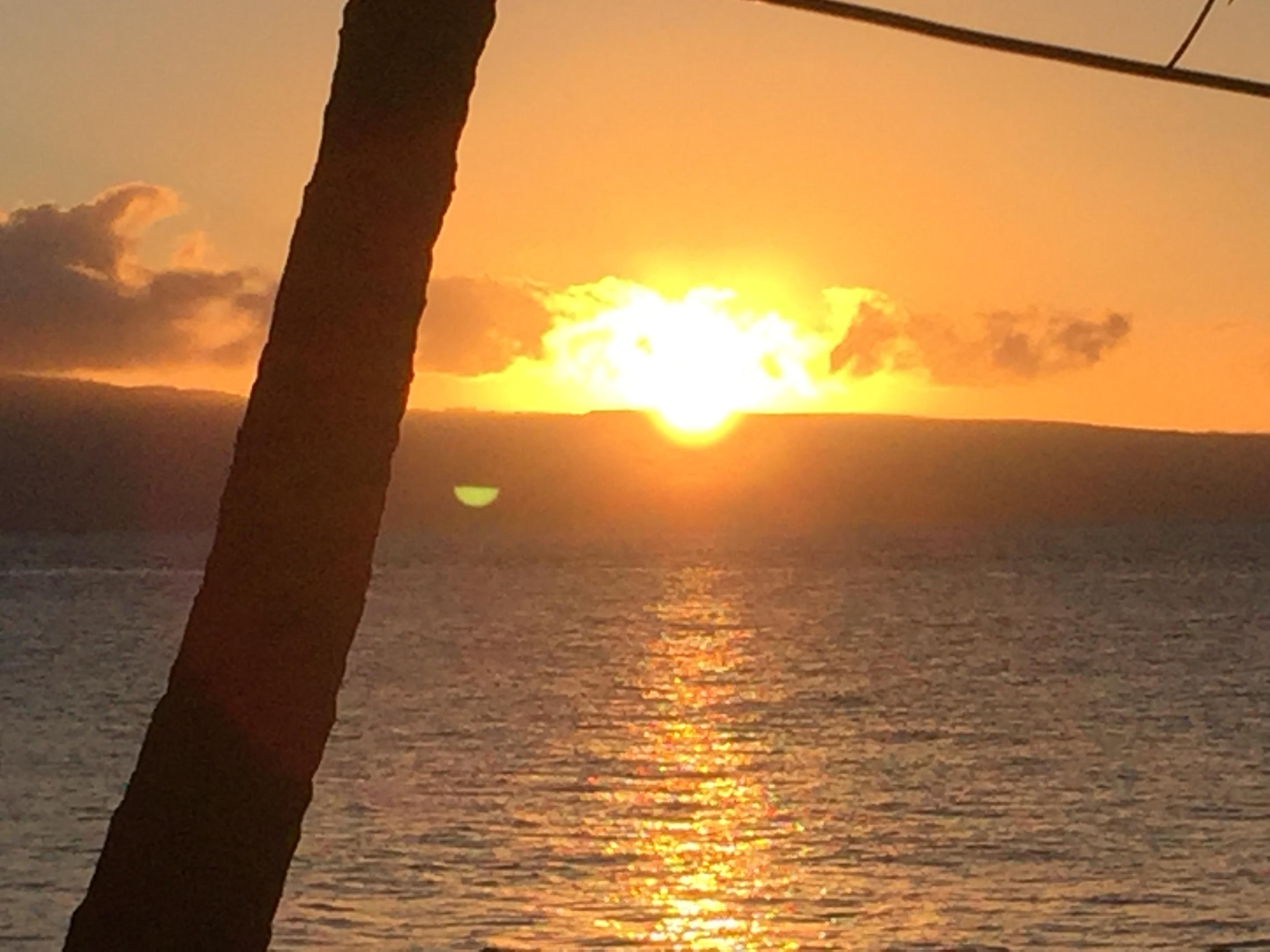 Sunset from seating at Castaway Cafe