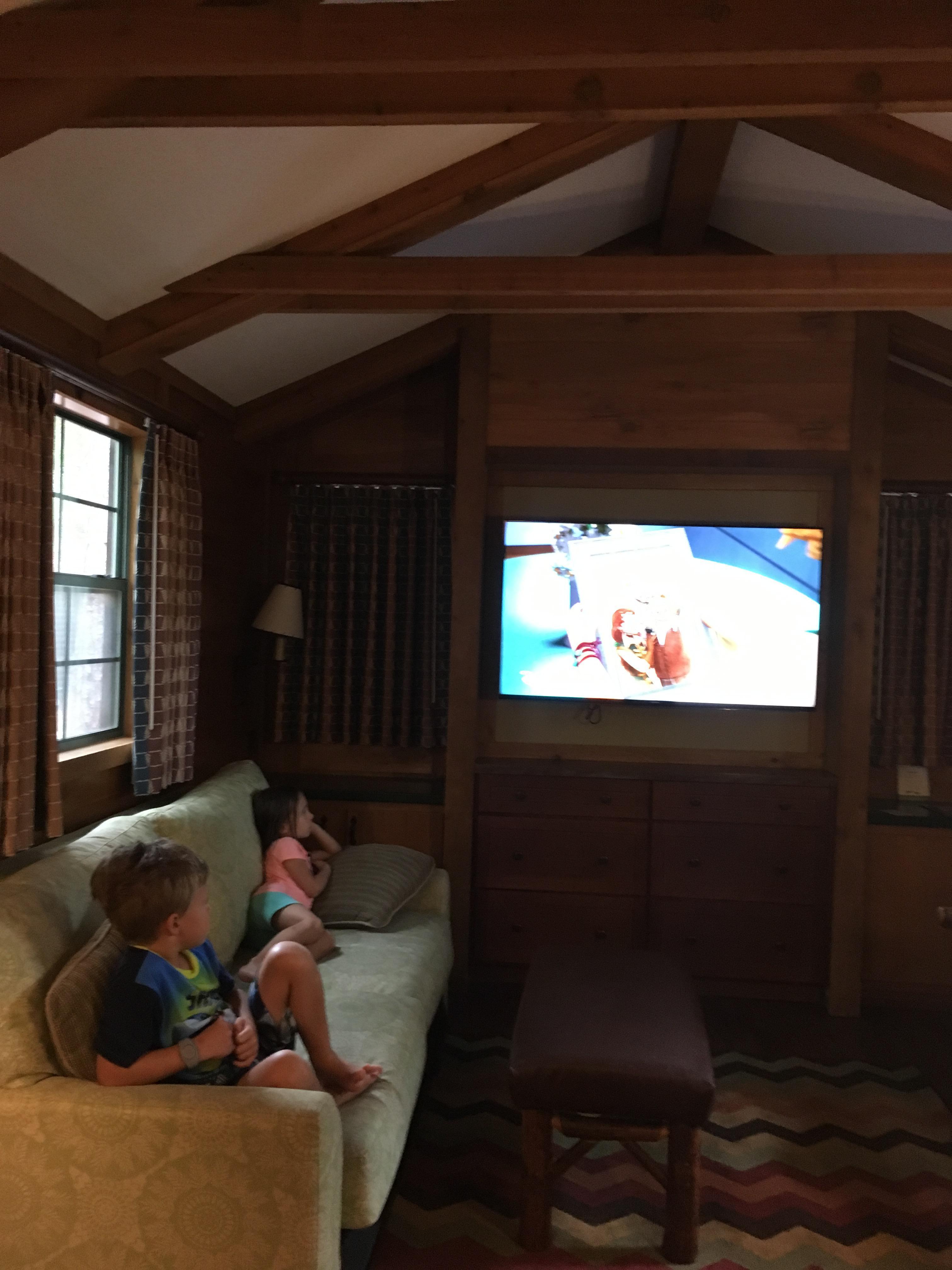 Kids relaxing in the cabin.
