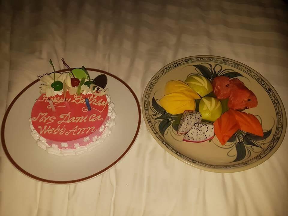 My birthday cake and fruit platter