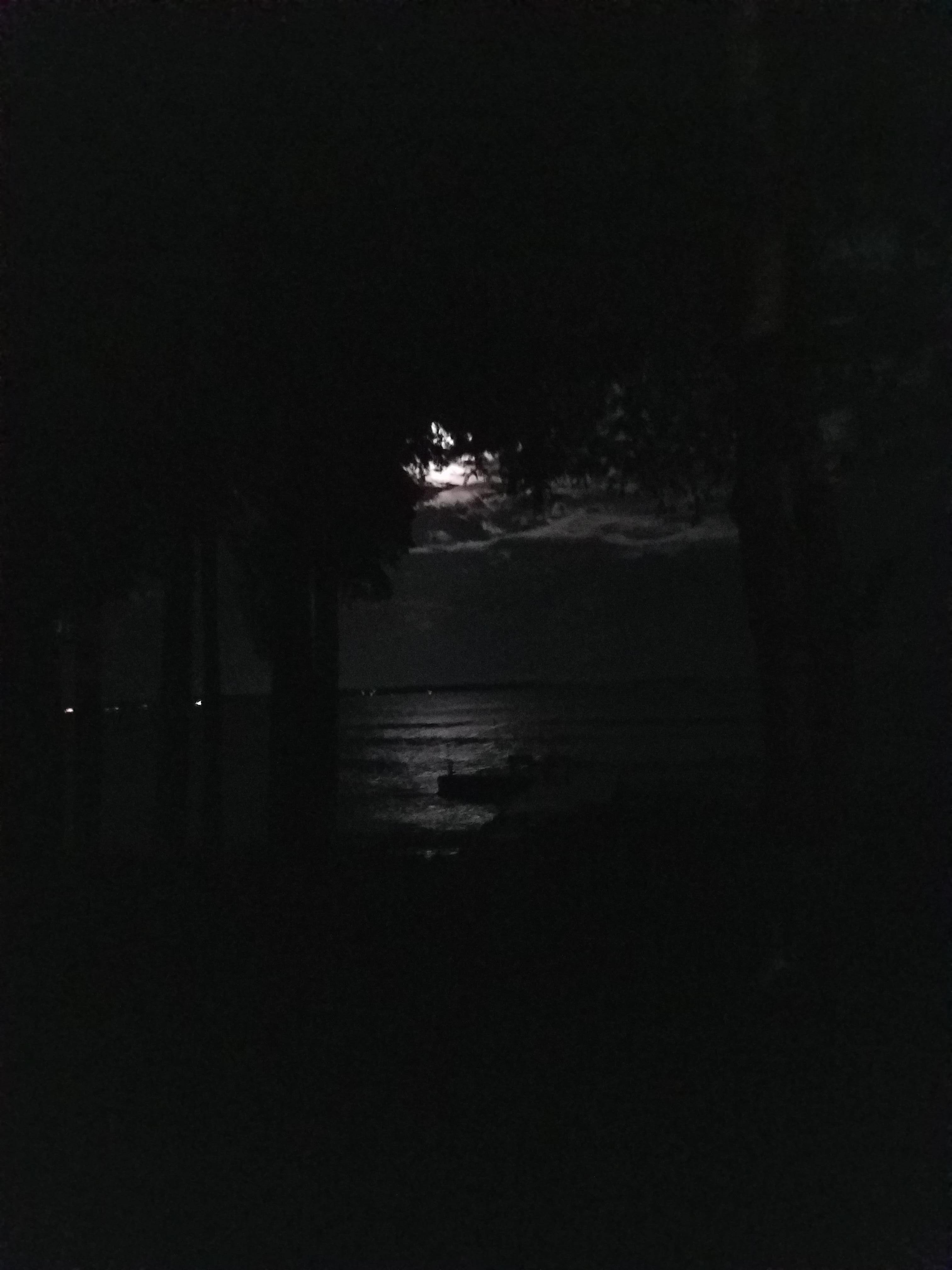 our view at night, listening to the tide