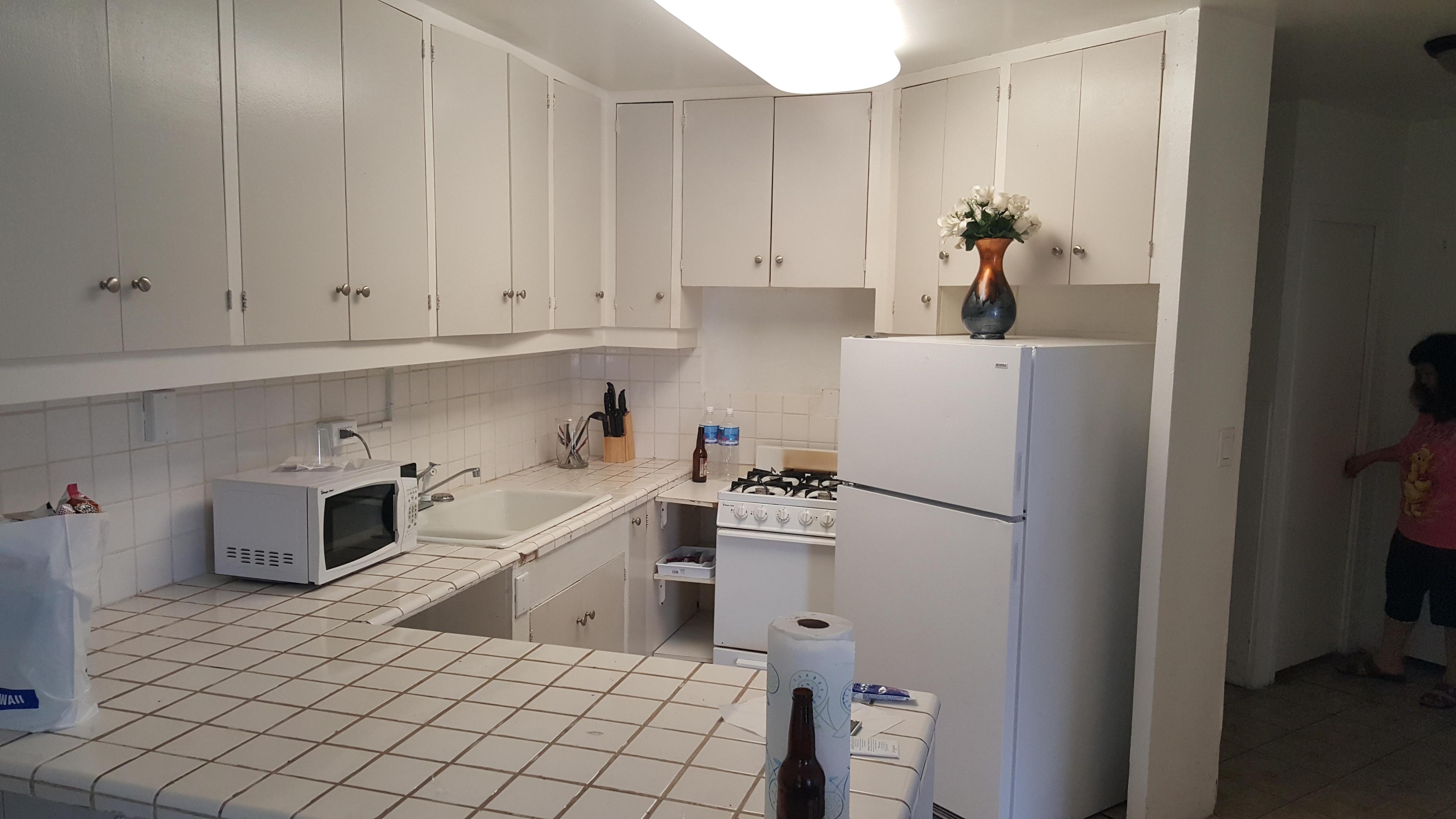 Broken tile. Kitchen needs remodeling.