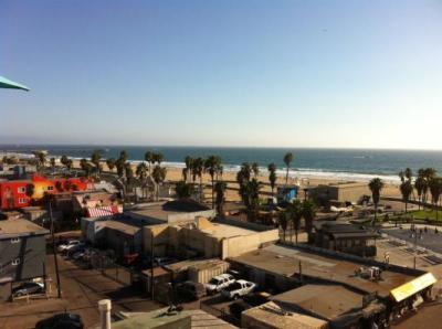 View of Santa Monica Bay fromt the rooftop lounge.