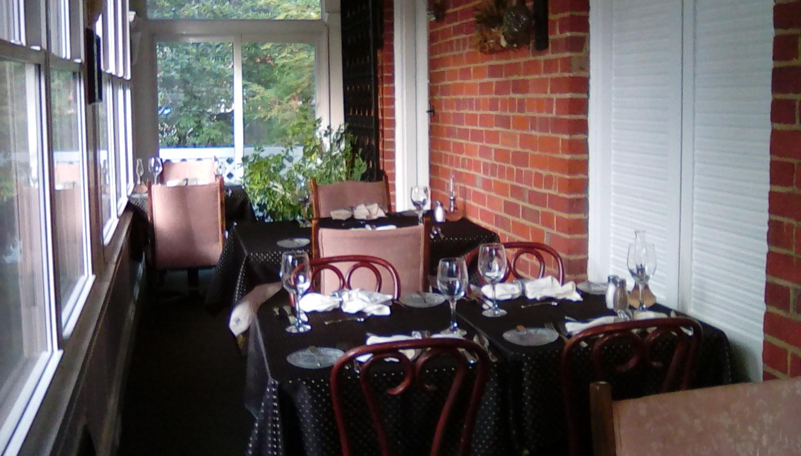 the porch dining area