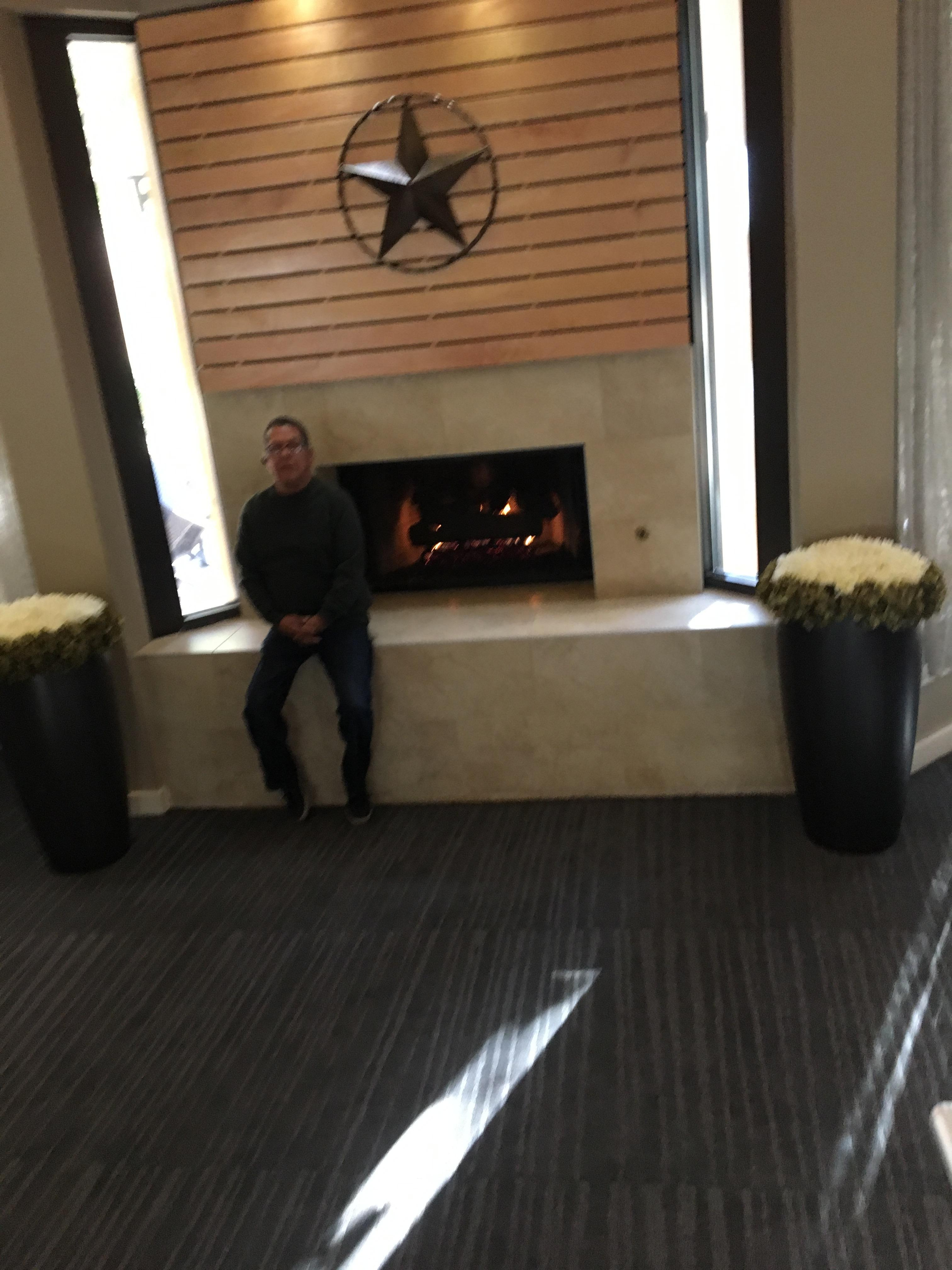 Beautiful fireplace in the lobby.