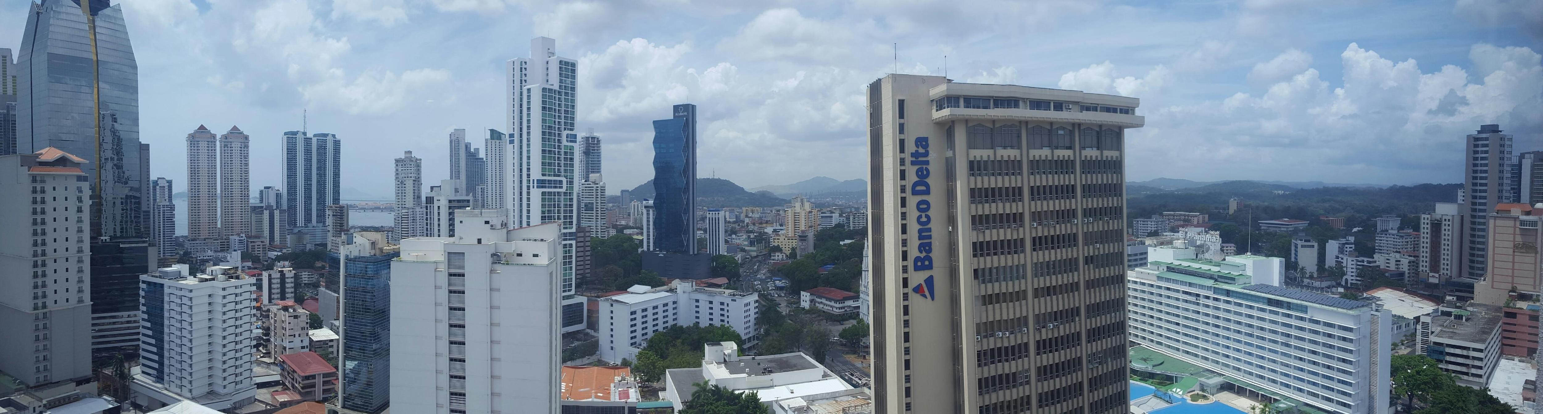 Hotel window view.
