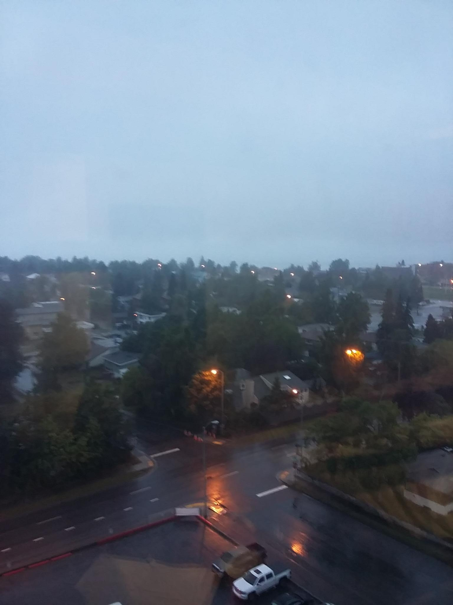 View from room, 12th floor, rainy morning