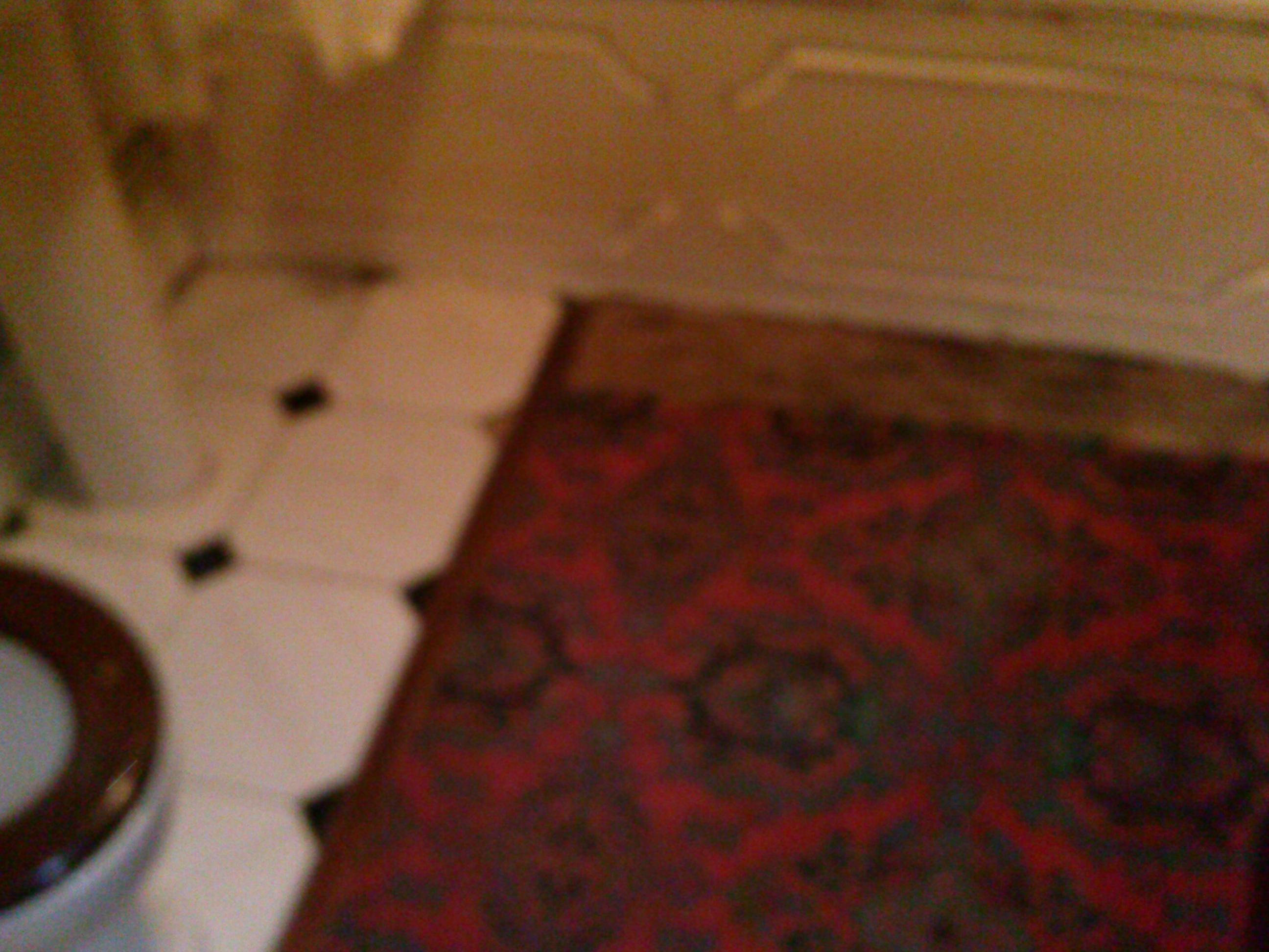 Cracked and missing tiles carpet and bare old wood