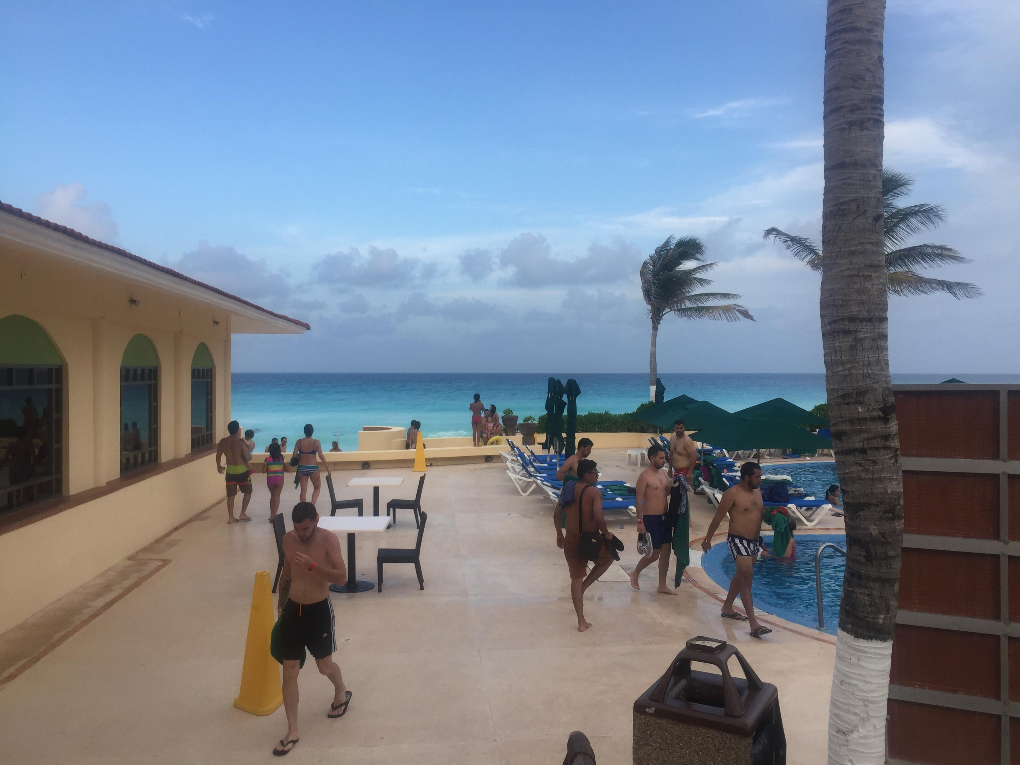 This was the pool area/ walkway to the beach