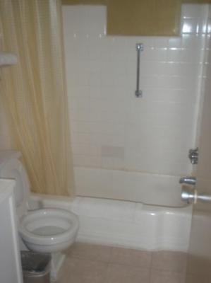 nasty bathroom with no toilet paper holder