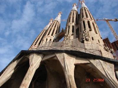 Looking upward at the Sagrada Familia.