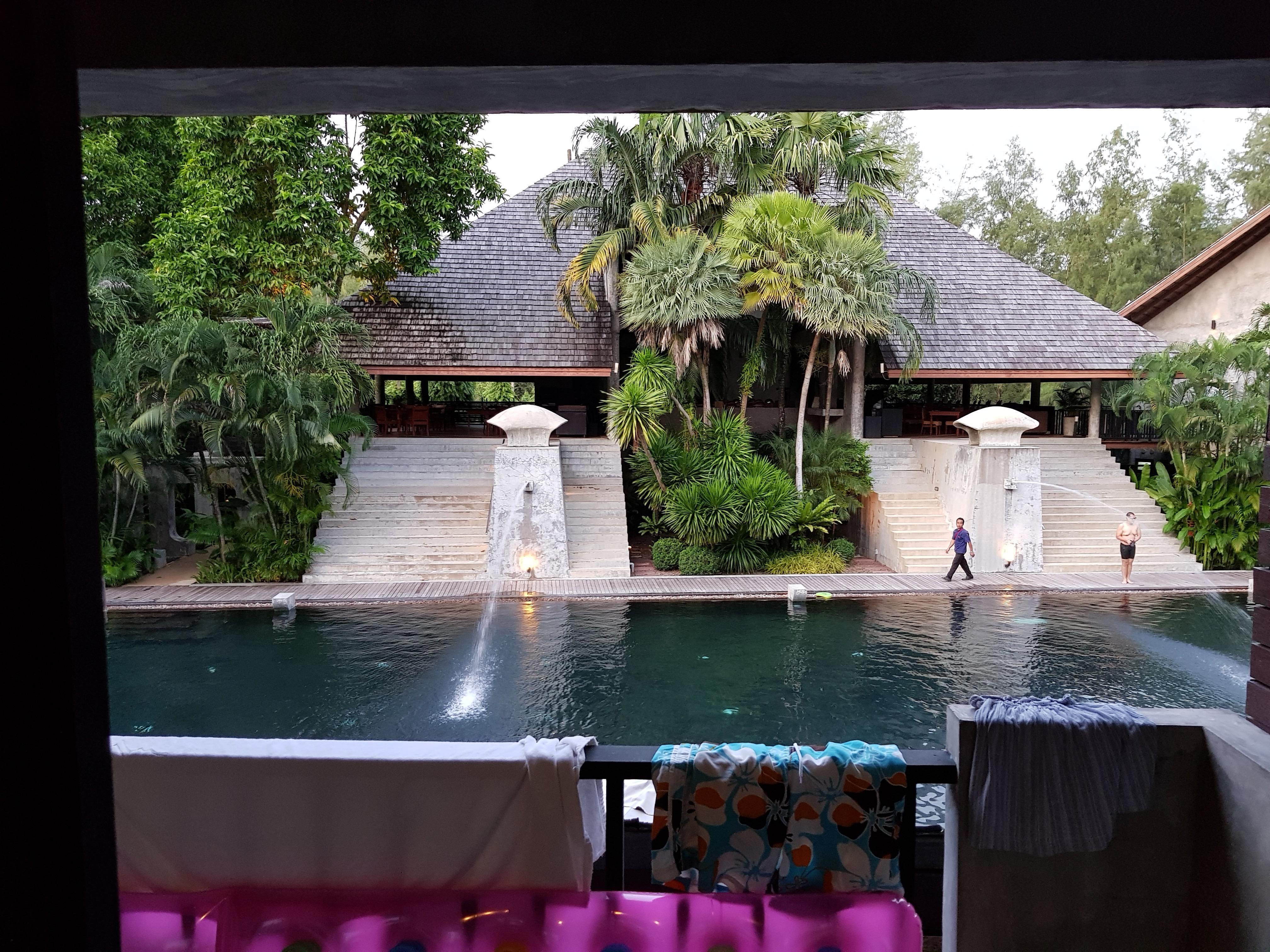 Blick vom Zimmer zum Restaurant