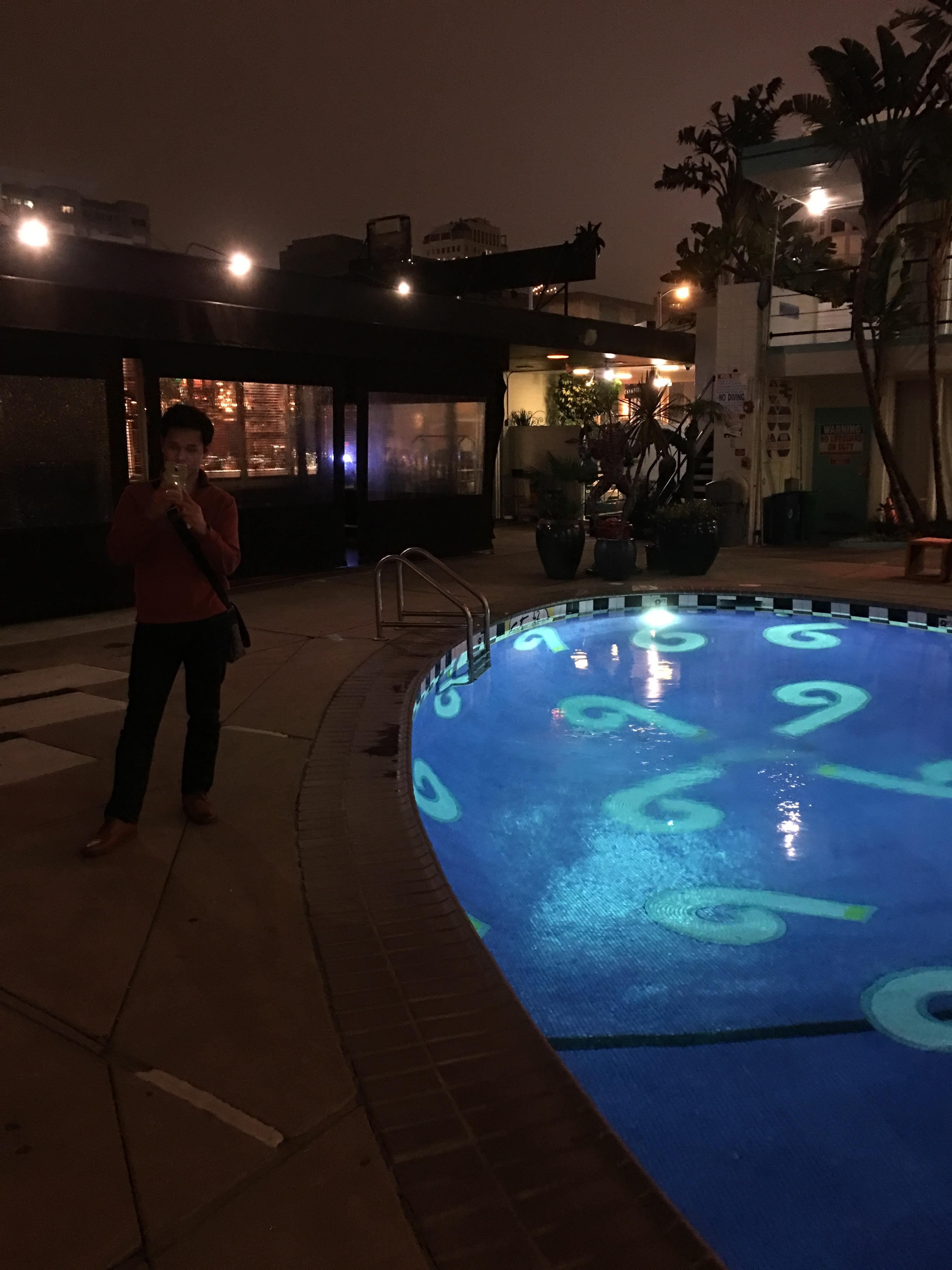 At night by the pool