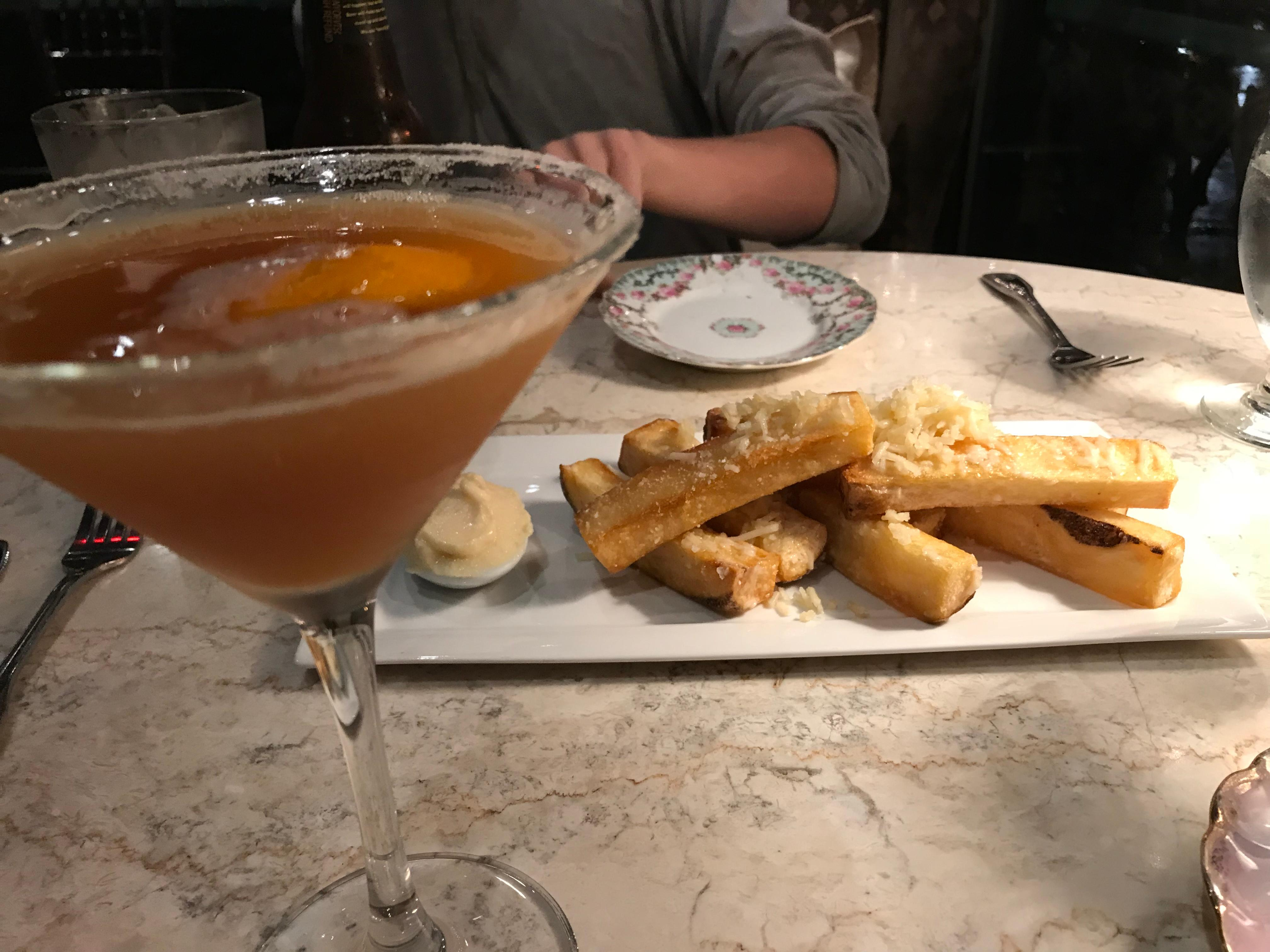 Lovely cocktail and truffle duck fat Parmesan fries