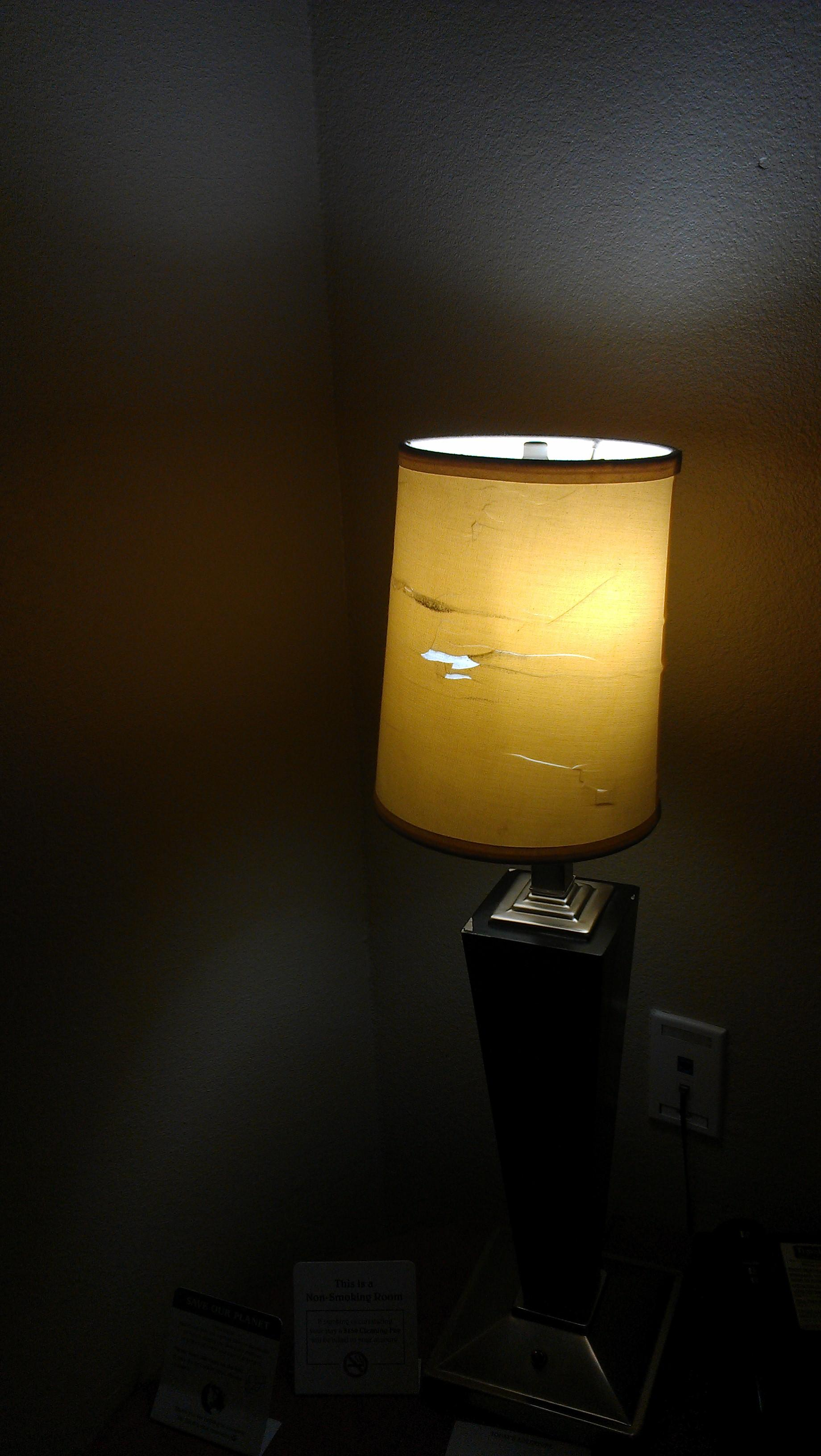 torn lamp shade