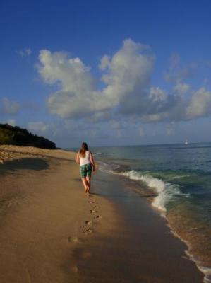 walking along Eden Beach (the clothing optional beach at Hawksbill)