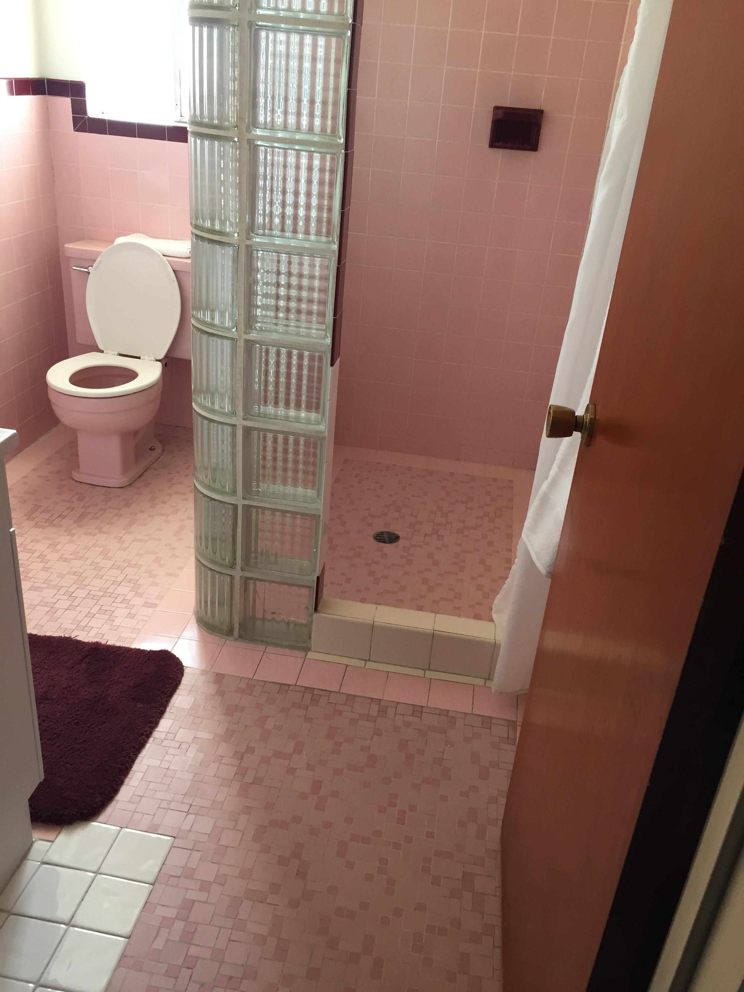 Pink tile bathroom