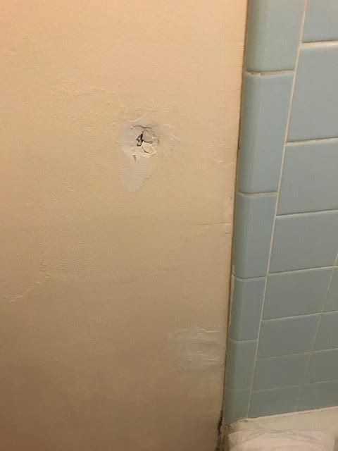 Holes in bathroom wall